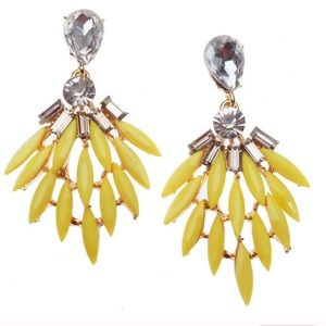 💛 YELLOW CRYSTAL FEATHER EARRINGS! 💛